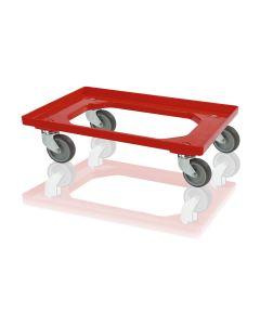 Wózek do pojemników 1/4 EURO. Plastik. Czerwony