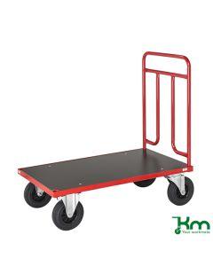 Wózek platformowy z 1 uchwytem. Czerwony