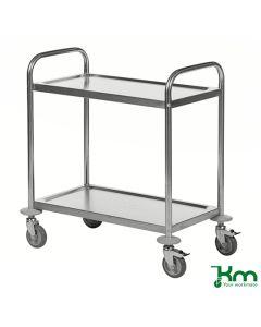 Wózek ze stali nierdzewnej. 2 półki