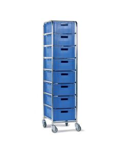 Wózek z 8 x 142106 pojemnikami 1/4  Euro niebieski