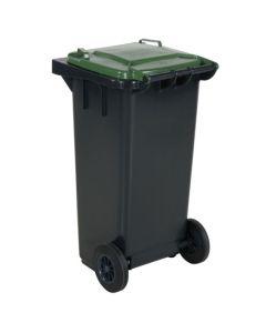 Pojemnik na dopady z zieloną pokrywą. 120 l