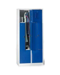 Szafa ubraniowa typu L 4 drzwiowa. Niebieskie drzwiczki