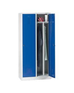 Szafa z przegrodą 2 drzwiowa, niebieskie drzwiczki