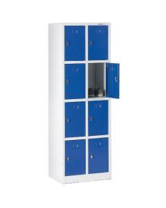 Szafa skrytkowa 8 komór, niebieskie drzwiczki