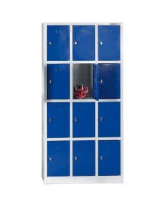 Szafa skrytkowa 12 komór, niebieskie drzwiczki