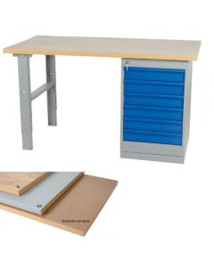 Stół warsztatowy L2000 x B800 mm 6 szuflad Olej-MDF